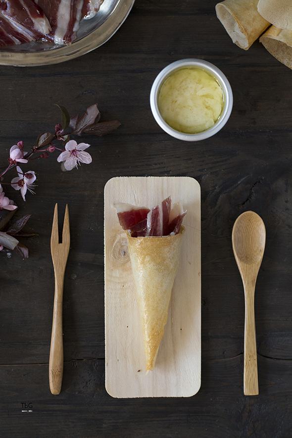 jamón ibérico y queso fundido